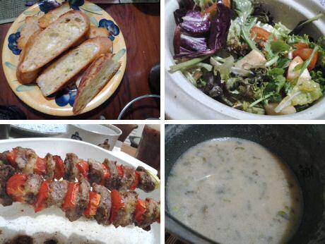 Garlic bread, mixed salad, pork kebab and left over leek soup dinner: 64 mg cholesterol
