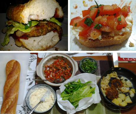 Almost vegetarian dinner: my wife only ate the french bread, tomato salsa, garlic sauce, salad, sweet pepper and koriander, I added 1 pork patty