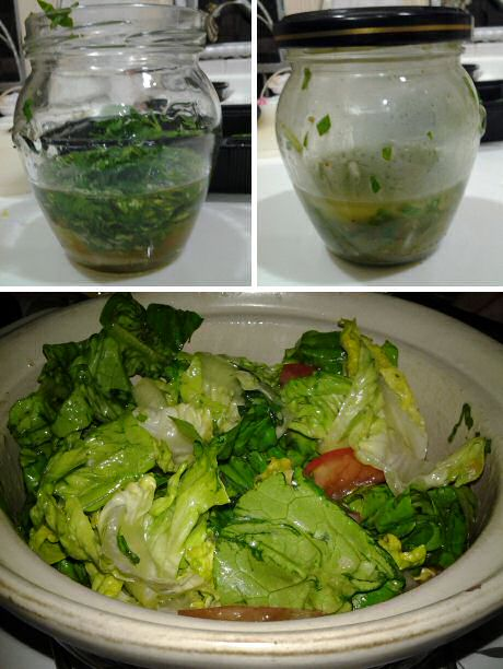 Fast and easy salad basik vinaigrette dressing recipe with basil, honey, lime, olive oil, garlic, salt, pepper and water = zero cholesterol