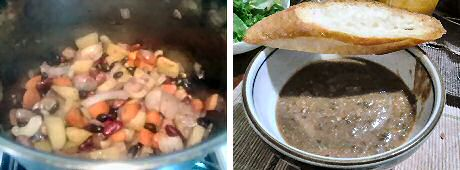 Easy bean soup recipe with mixed dried beans, potato, onion and carrot