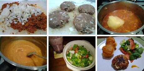 Curry pork patties served with fresh tomato sauce, mixed salad and a fruit smoothie