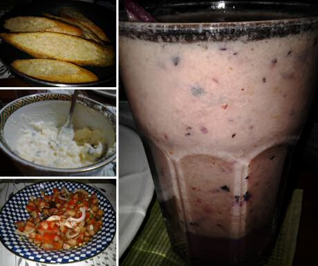 Oven roasted French bread, onion yogurt dip, fresh tomato salsa and fruit smoothie