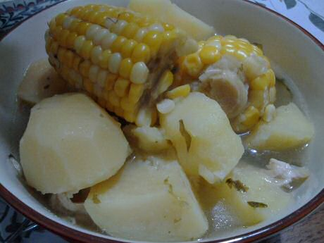 Easy chicken corn soup with corn and potatoes, based on homemade chicken stock