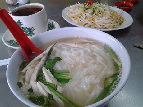 The easiest chicken noodle soup is the one you eat in a restaurant that's famous for that dish, served with beansprouts and tea.
