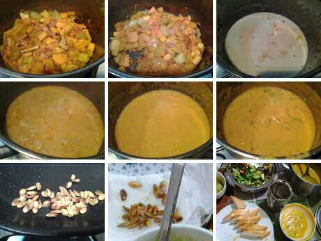 Step by step recipe with pictures to make the most delicious and easy pumpkin soup, served with baked pumpkin seeds, French bread, tapenade, mixed lettuce and guacamole