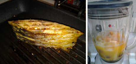 Grilled fish in a grillpan and a peach fruit smoothie