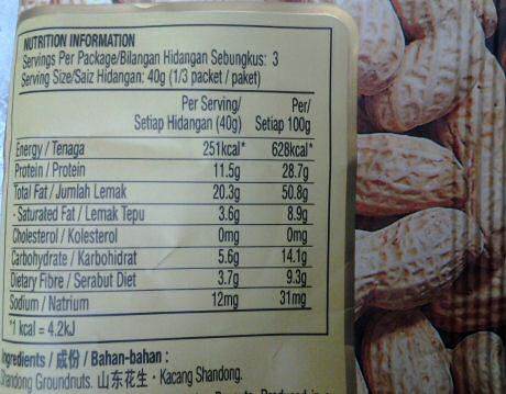 Nutrition facts for groundnuts: zero cholesterol but 50% total fat