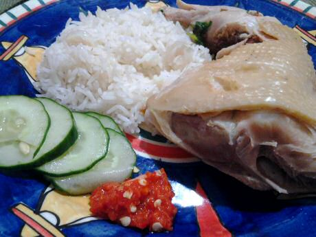 Hainan chicken rice with fresh cucumber, 1 chicken thigh and freshly made sambal