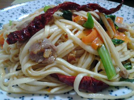 Cooked udon wheat noodles fried with mixed veggies and a bit of pork: 50 mg cholesterol intake
